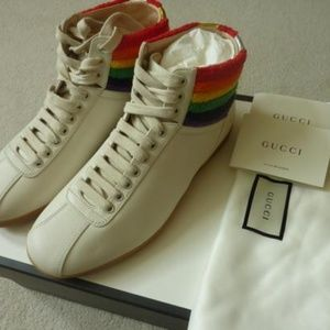 {{{GUCCI}}} Rainbow hi-top leather sneakers 9US